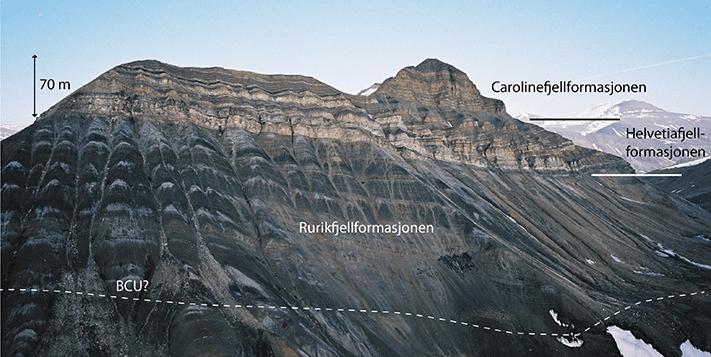 Tykke sandsteinslag utgjør en megasekvens