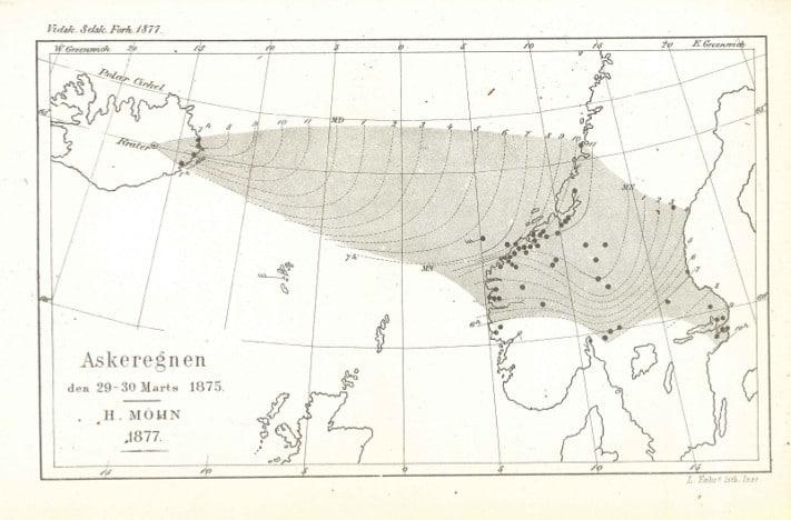 Verdens første kart av et askenedfall