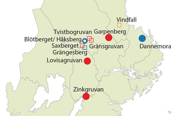 Nytt kart over svenske gruver