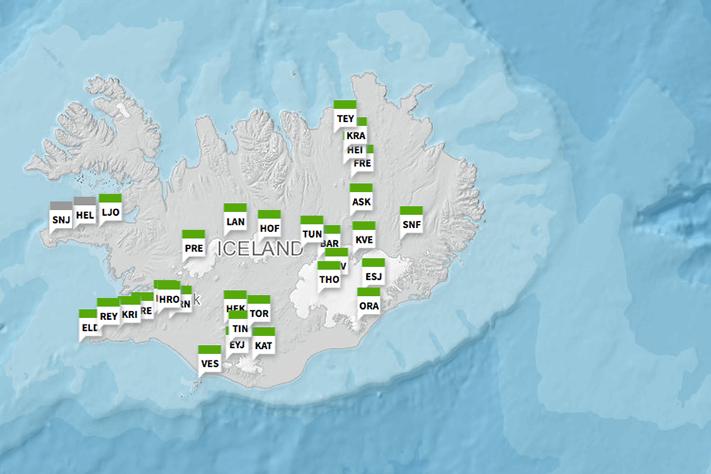 Islands aktive vulkaner