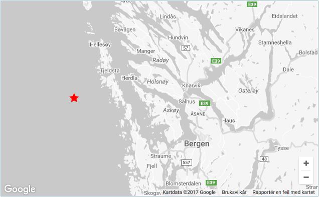 Nytt jordskjelv på vestlandet